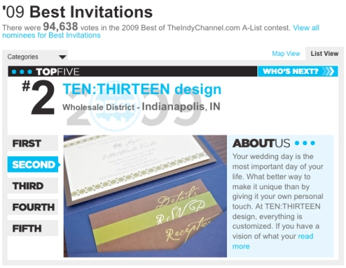 TheIndyChannel.com A-List 2nd Place Winner for Wedding Invitations