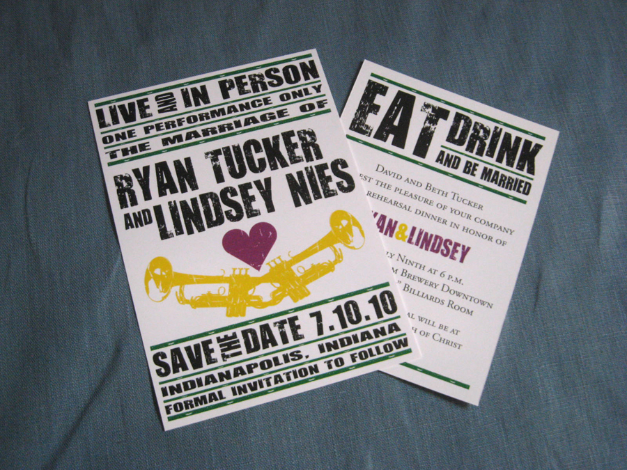 of Lindsey and Ryan 39s wedding invitations A little New Orleans in Indy